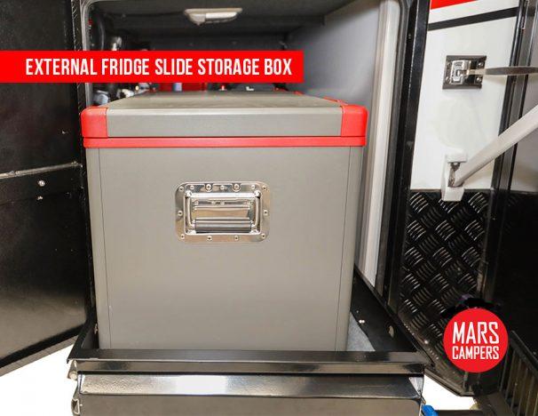 Hybrid caravan external fridge
